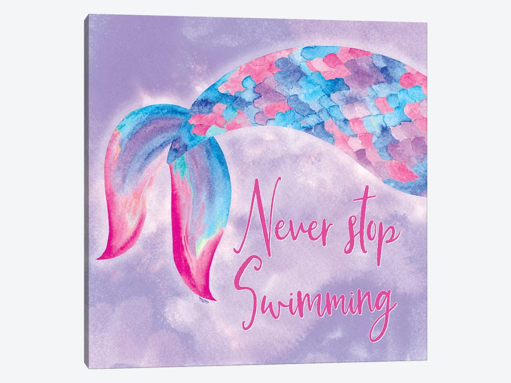 Mermaid Life II Pink/Purple by Tara Reed 1-piece Canvas Art