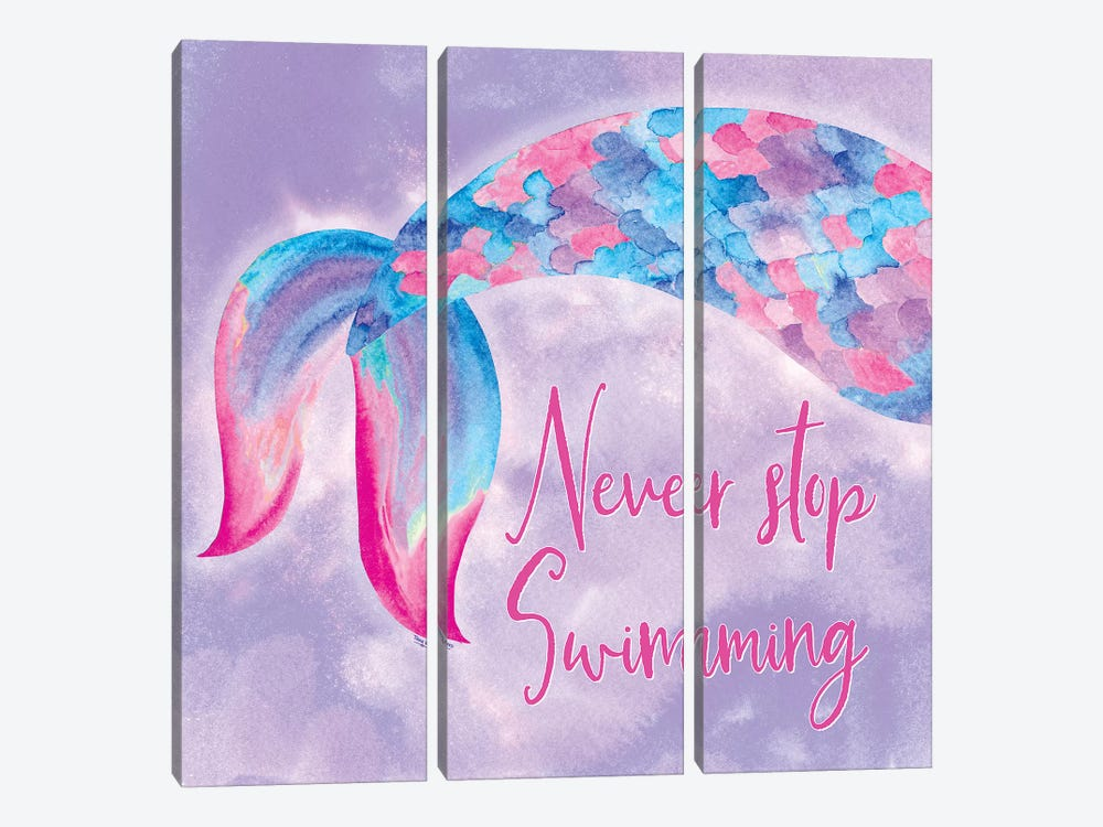 Mermaid Life II Pink/Purple by Tara Reed 3-piece Canvas Art