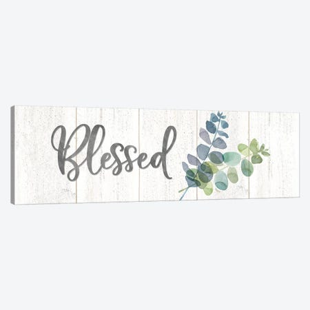 Natural Inspiration Blue Blessings sign Canvas Print #TRE233} by Tara Reed Art Print