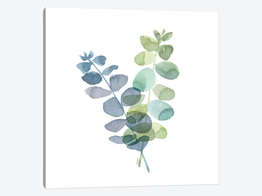 Natural Inspiration Blue Eucalyptus on White I 1-piece Canvas Artwork