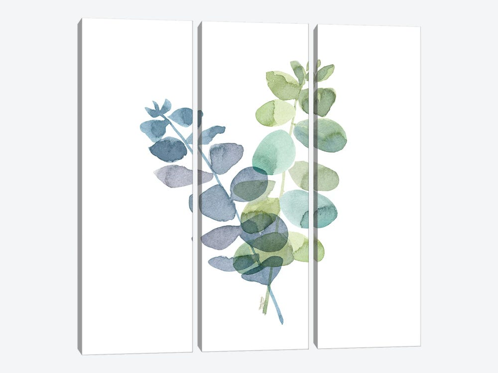 Natural Inspiration Blue Eucalyptus on White I by Tara Reed 3-piece Canvas Art