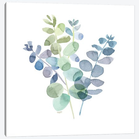 Natural Inspiration Blue Eucalyptus on White II 3-Piece Canvas #TRE235} by Tara Reed Canvas Art