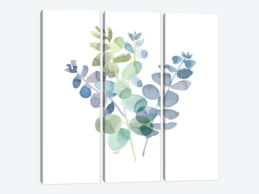 Natural Inspiration Blue Eucalyptus on White II by Tara Reed 3-piece Art Print