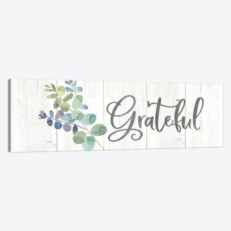 Natural Inspiration Blue Grateful sign Canvas Print #TRE236} by Tara Reed Canvas Wall Art