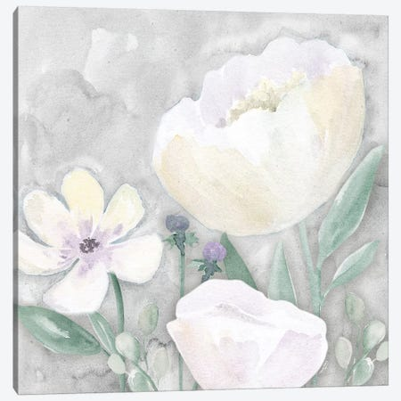 Peaceful Repose Floral on Gray II Canvas Print #TRE240} by Tara Reed Canvas Artwork