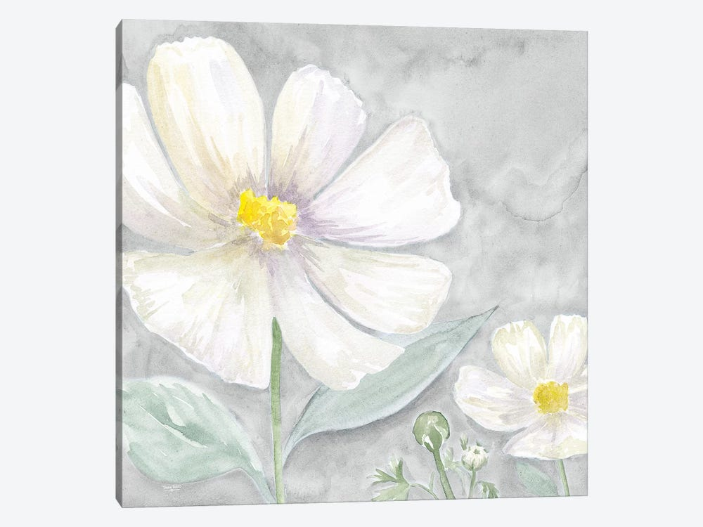 Peaceful Repose Floral on Gray III by Tara Reed 1-piece Canvas Art