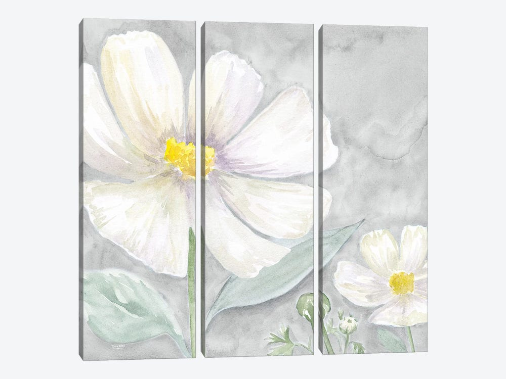 Peaceful Repose Floral on Gray III by Tara Reed 3-piece Canvas Art