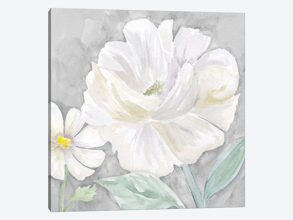 Peaceful Repose Floral on Gray IV by Tara Reed 1-piece Canvas Art Print