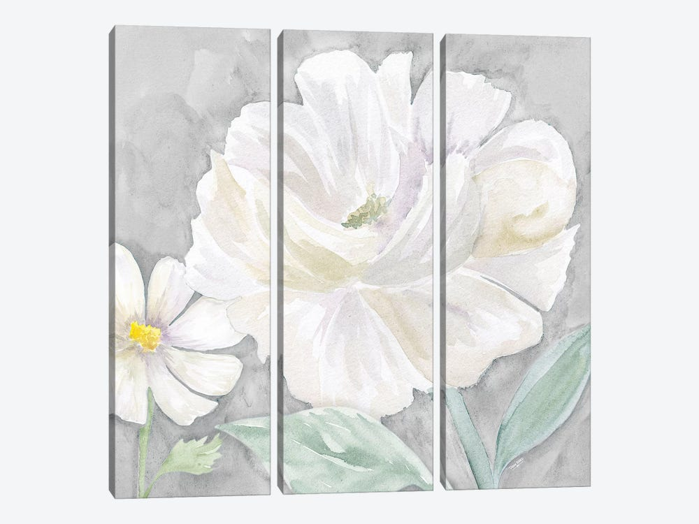 Peaceful Repose Floral on Gray IV by Tara Reed 3-piece Canvas Print