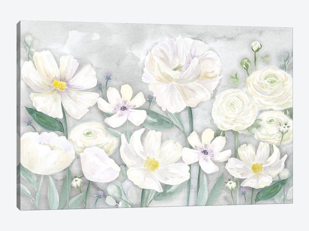 Peaceful Repose Gray Floral Landscape by Tara Reed 1-piece Canvas Artwork