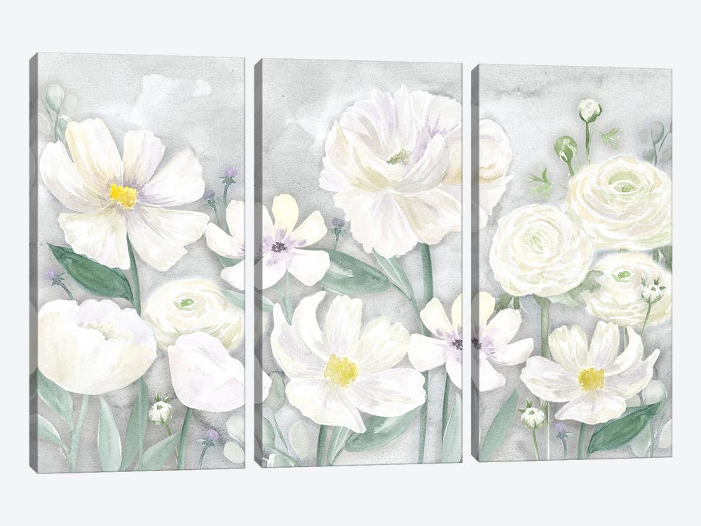 Peaceful Repose Gray Floral Landscape by Tara Reed 3-piece Canvas Artwork