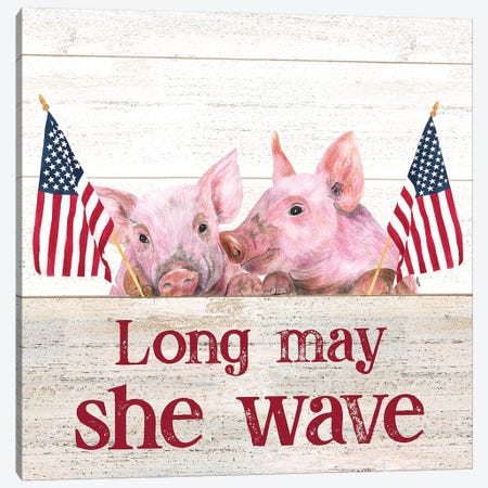 Long May She Wave Square IV 3-Piece Canvas #TRE246} by Tara Reed Canvas Art Print