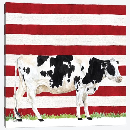 Cow and Stripes I Canvas Print #TRE247} by Tara Reed Art Print