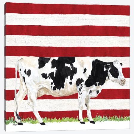 Cow and Stripes I Canvas Print #TRE247} by Tara Reed Art Print