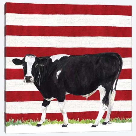 Cow and Stripes II Canvas Print #TRE248} by Tara Reed Canvas Wall Art