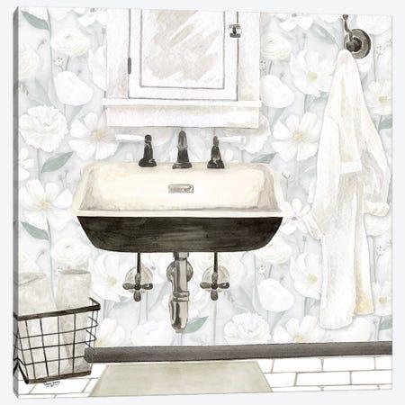White Floral Bath I  Canvas Print #TRE267} by Tara Reed Art Print