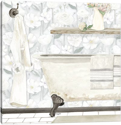 White Floral Bath II Canvas Art Print