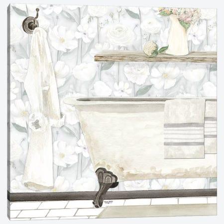 White Floral Bath II Canvas Print #TRE268} by Tara Reed Canvas Wall Art