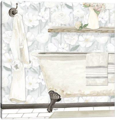 White Floral Bath II Canvas Art Print