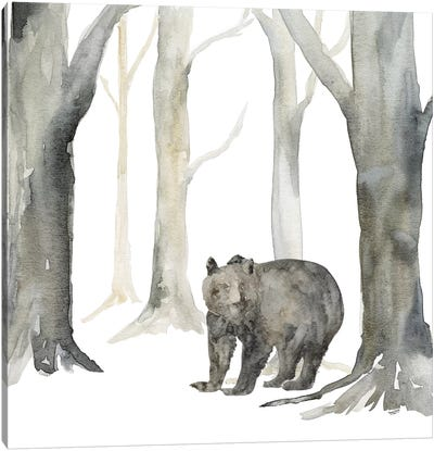 Winter Forest Bear Canvas Art Print