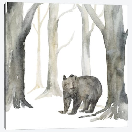 Winter Forest Bear Canvas Print #TRE269} by Tara Reed Canvas Art