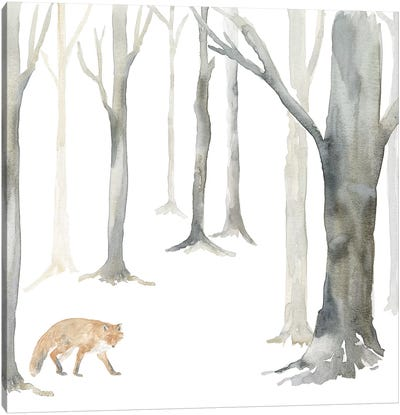 Winter Forest Fox Canvas Art Print