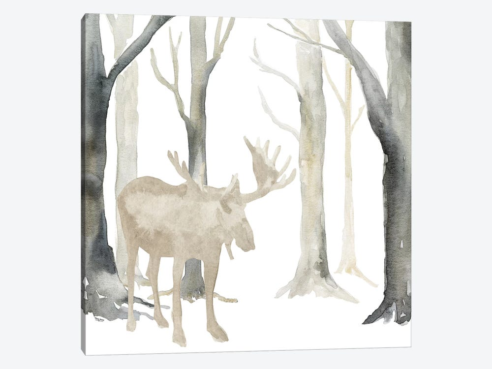 Winter Forest Moose  by Tara Reed 1-piece Canvas Art