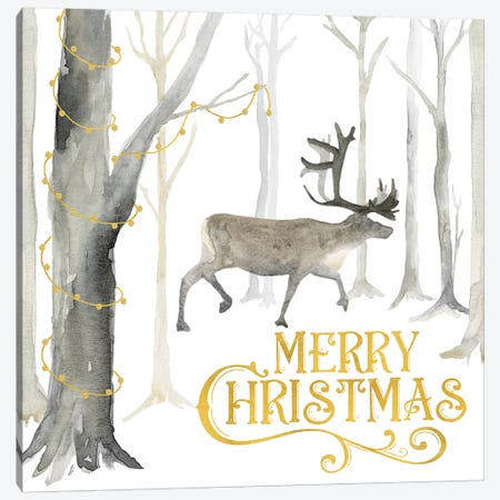 Christmas Forest II Merry Christmas Canvas Print #TRE283} by Tara Reed Canvas Art