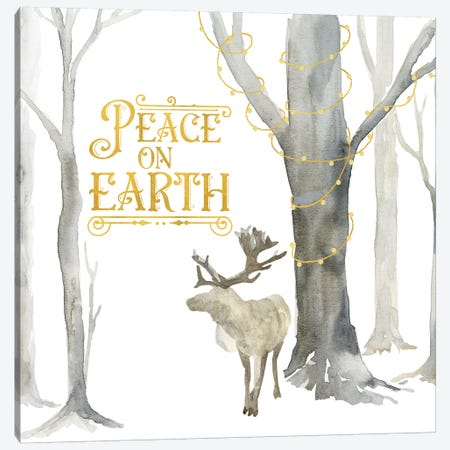 Christmas Forest III Peace on Earth Canvas Print #TRE284} by Tara Reed Art Print