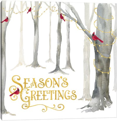 Christmas Forest IV Seasons Greetings Canvas Art Print