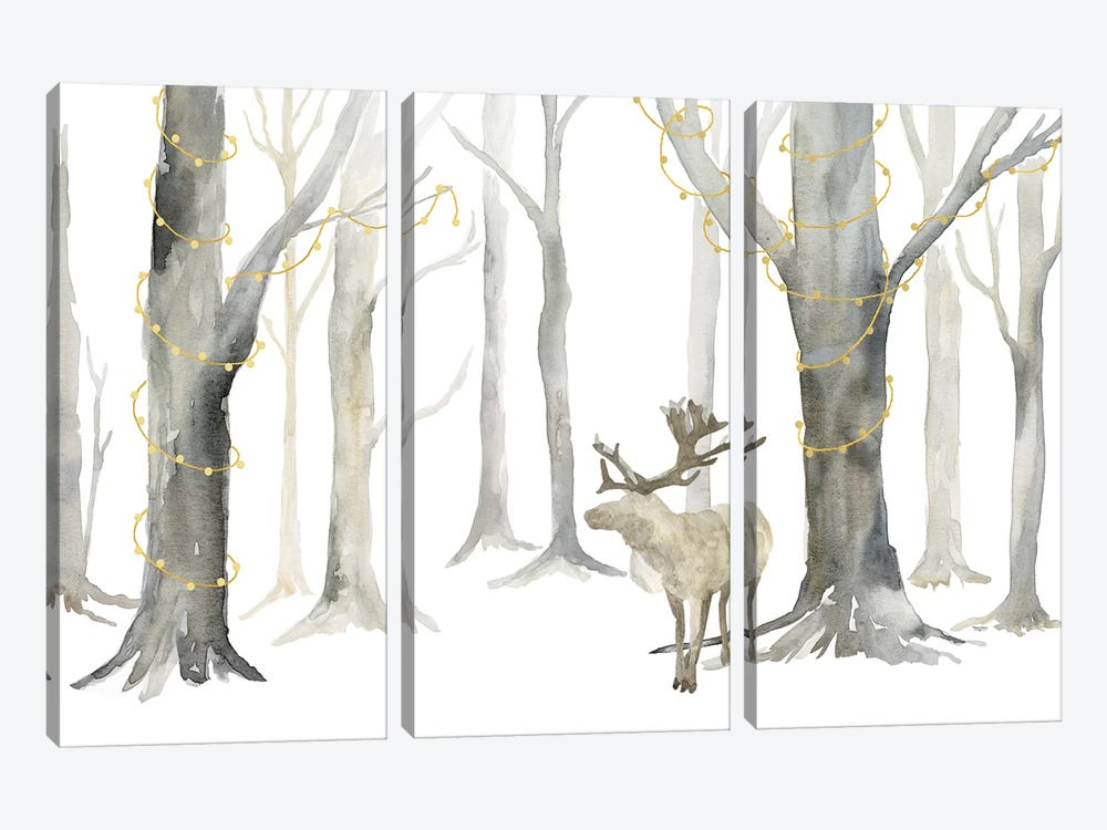 Christmas Forest landscape by Tara Reed 3-piece Art Print