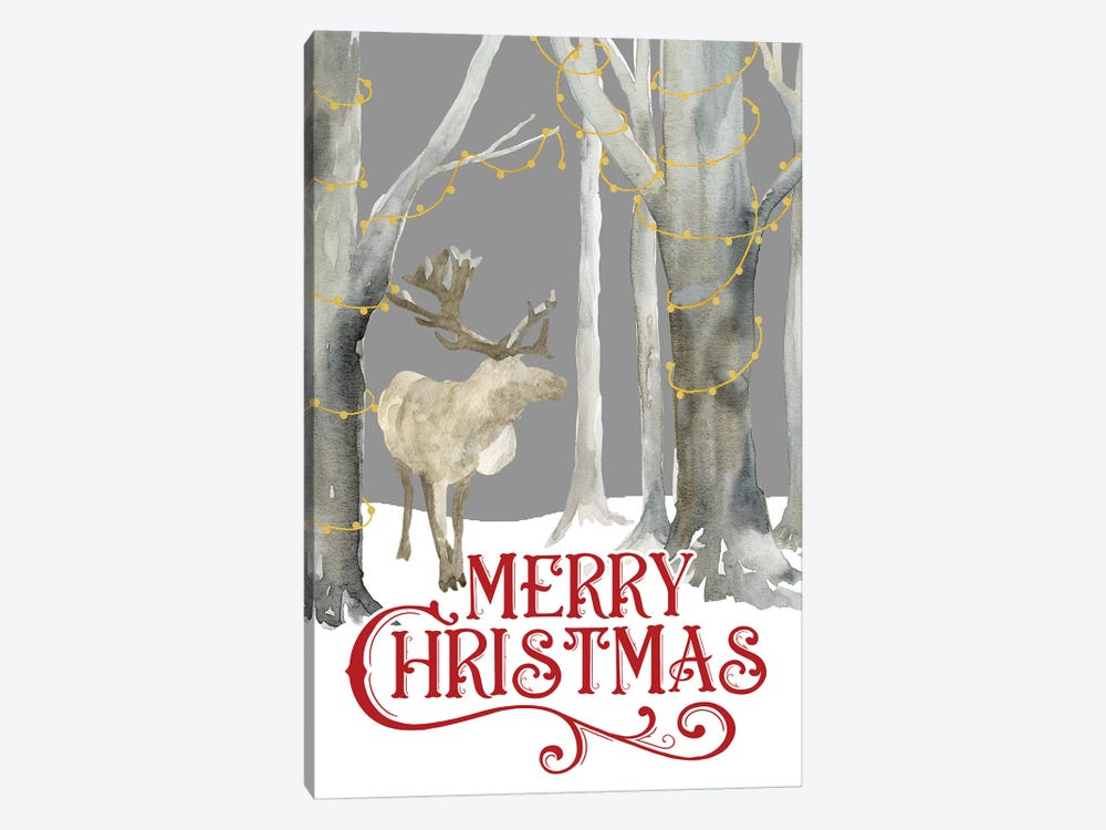 Christmas Forest portrait I-Merry Christmas by Tara Reed 1-piece Canvas Wall Art