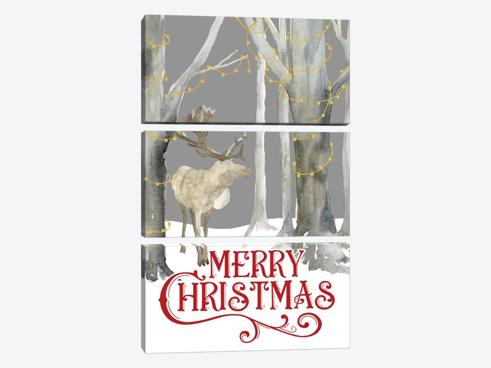 Christmas Forest portrait I-Merry Christmas by Tara Reed 3-piece Canvas Art