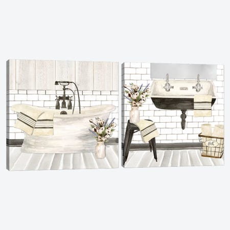 Farmhouse Bath Diptych Canvas Print Set #TRE2HSET001} by Tara Reed Canvas Art