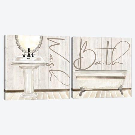 Rustic Bath Diptych Canvas Print Set #TRE2HSET002} by Tara Reed Canvas Artwork