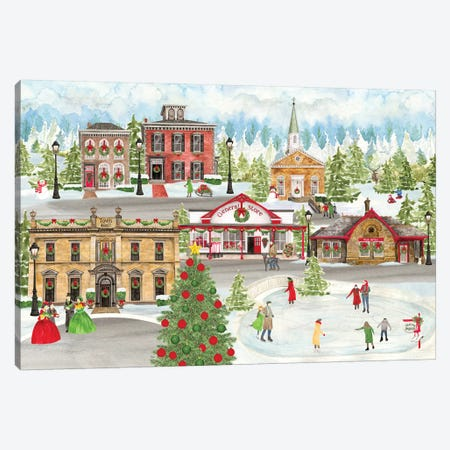 Christmas Village landscape Canvas Print #TRE312} by Tara Reed Canvas Artwork