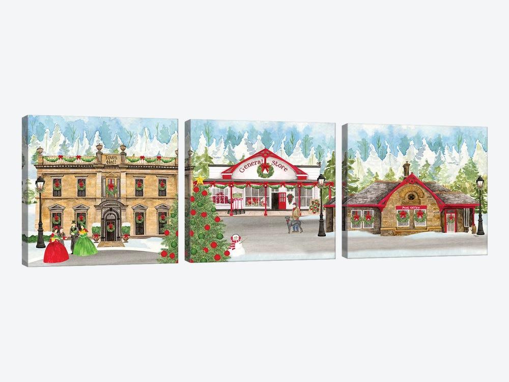 Christmas Village panel II by Tara Reed 3-piece Canvas Print