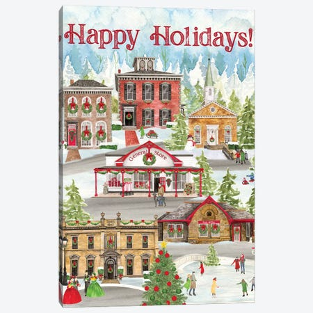 Christmas Village portrait II Canvas Print #TRE316} by Tara Reed Art Print