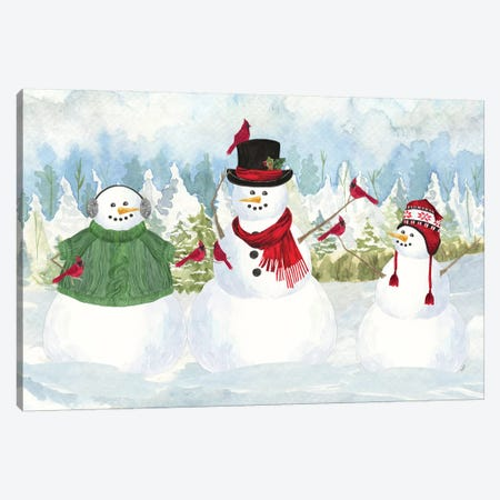 Snowman Christmas landscape Canvas Print #TRE351} by Tara Reed Canvas Artwork