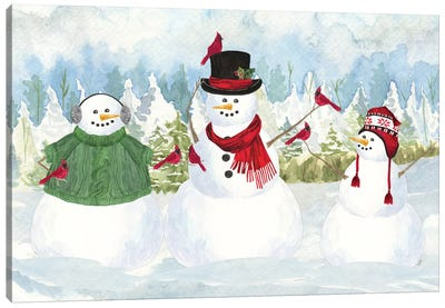 Snowman Christmas landscape Canvas Art Print