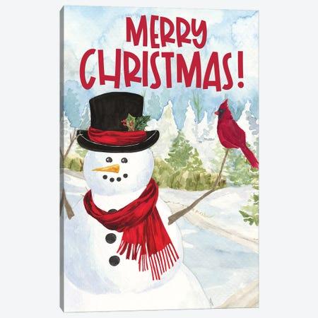 Snowman Christmas portrait I Canvas Print #TRE354} by Tara Reed Art Print