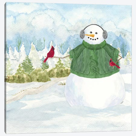 Snowman Christmas V Canvas Print #TRE356} by Tara Reed Canvas Art Print
