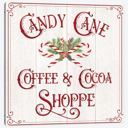 Vintage Christmas Signs I-Candy Cane Coffee Canvas Print #TRE359} by Tara Reed Canvas Wall Art