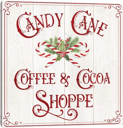 Vintage Christmas Signs I-Candy Cane Coffee Canvas Art Print