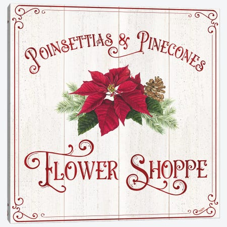 Vintage Christmas Signs III-Flower Shoppe Canvas Print #TRE361} by Tara Reed Art Print