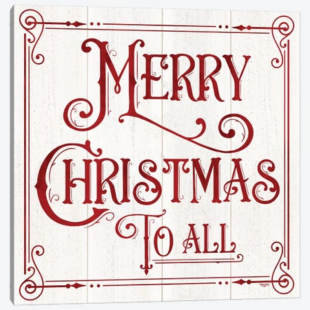 Vintage Christmas Signs IV-Merry Christmas Canvas Print #TRE362} by Tara Reed Canvas Print