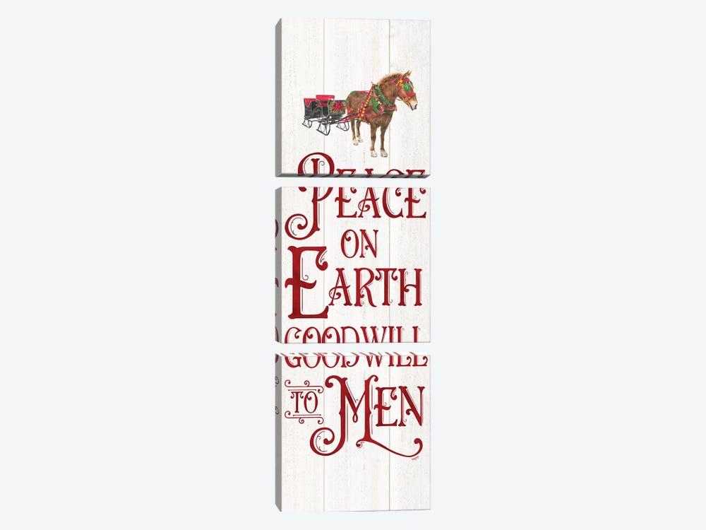 Vintage Christmas Signs panel III-Peace on Earth by Tara Reed 3-piece Art Print