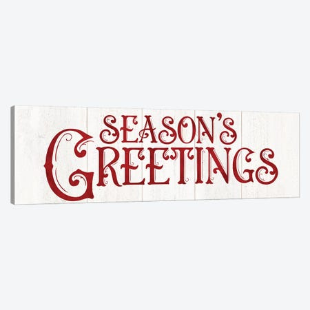 Vintage Christmas Signs panel II-Seasons Greetings 3-Piece Canvas #TRE364} by Tara Reed Canvas Art