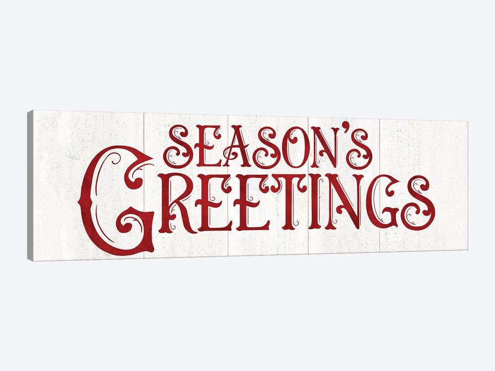 Vintage Christmas Signs panel II-Seasons Greetings by Tara Reed 1-piece Canvas Wall Art
