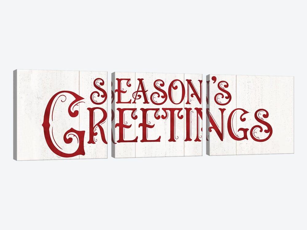 Vintage Christmas Signs panel II-Seasons Greetings by Tara Reed 3-piece Canvas Wall Art